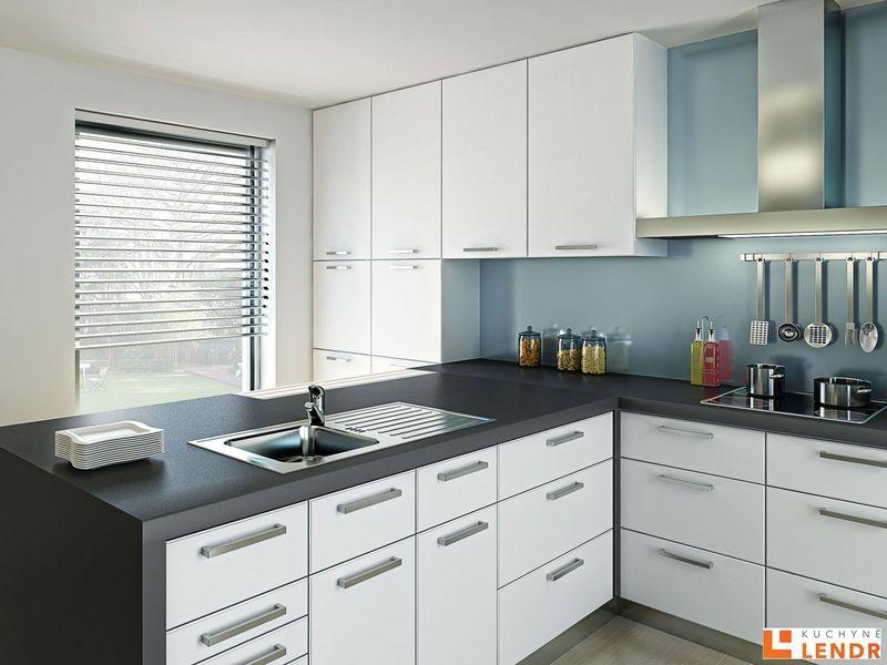 Rohová kuchyň bílá s pracovní deskou Antracit